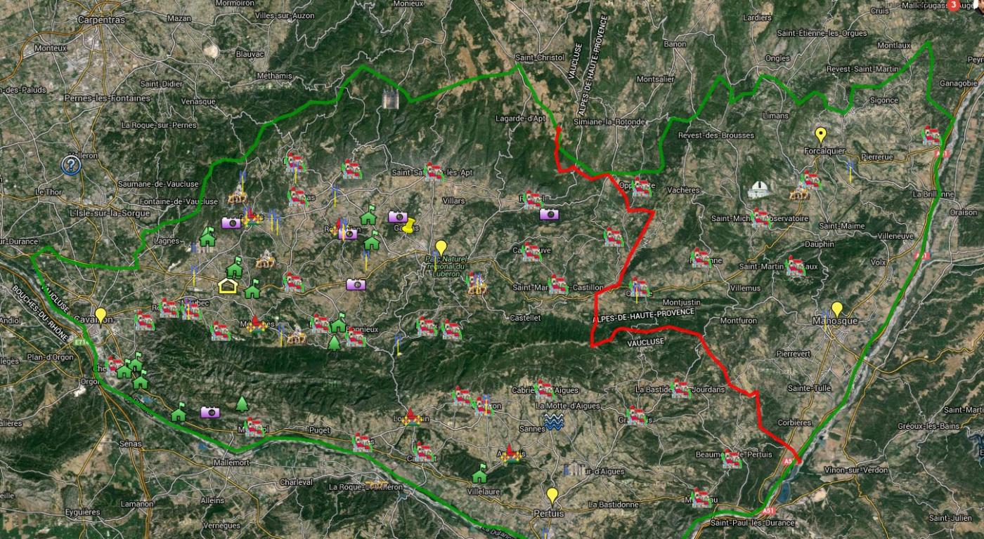 Carte du Luberon : villages du Sud et Nord Luberon